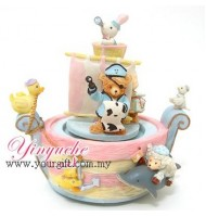 Lovely Animal Pirate Ship Music Box