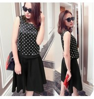 Chiffon Polka Dot Stitching Top+Skirt
