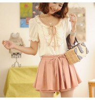 Summer New Embroidery Flounced Chiffon Blouse