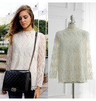 [Defect] Long-Sleeved Slim Collar Lace Embroidery Blouse FP00178