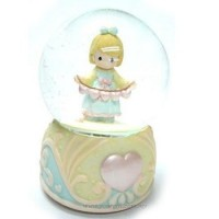 A girl With Chain Water Globe Music Box