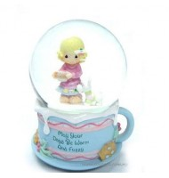 Precious Moment A Girl & Dog Crystal Ball Music Box